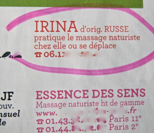 Nouvel Obs annonces coquines Irina