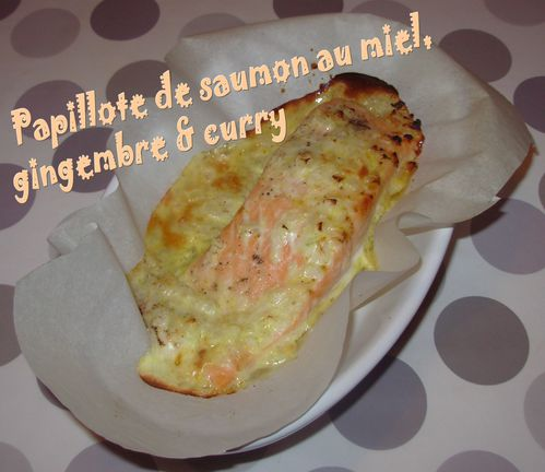 Papillote de saumon, miel, gingembre-curry3