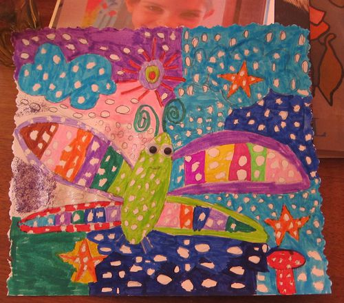 papillon petits pois coloriage atelier d'art enfants cather