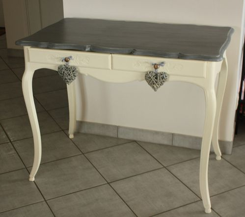 Table relookee le blog de charl a - Meuble patine blanc ivoire ...