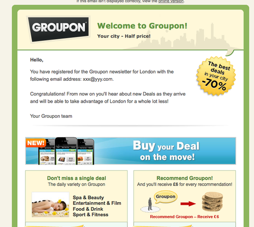 how to delete groupon emails