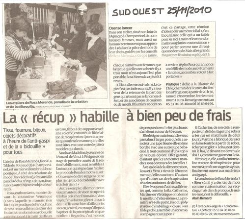 Article Presse 8 Sud Ouest 25 11 2010