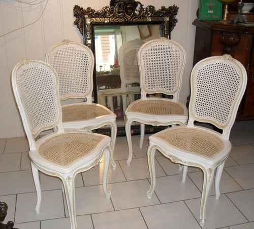 chaises de style louis xv cann es patin es en deux tons le blog de jadis. Black Bedroom Furniture Sets. Home Design Ideas