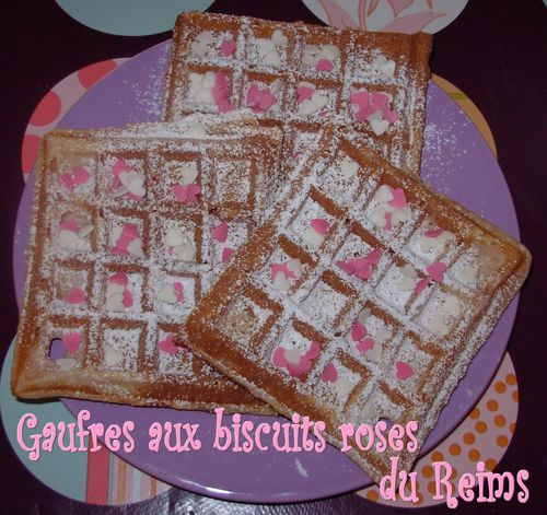 Gaufres aux biscuits roses3