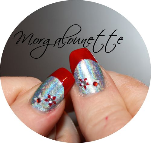 French Rouge sur Holographique et stamping strass -copie-3