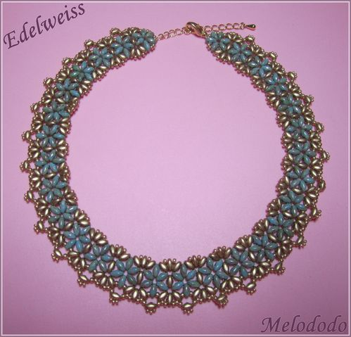 Collier Edelweiss Gold et Turquoise
