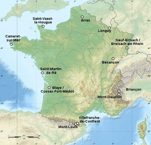 Carte des sites majeurs de Vauban