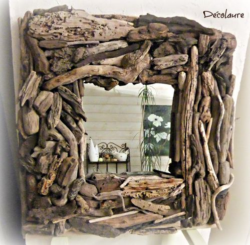 Miroir en bois flott d co laure for Deco nature creation bois flotte