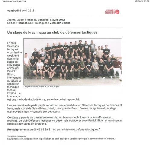 Article Ouest France - Stage- 01 avril 12