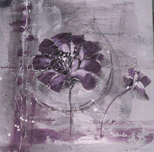 Fleurs mauves tableau peinture acrylique fleurs for Tableau bleu et gris