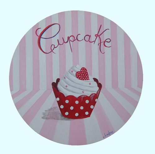 tableau-rond-cupcake-rouge-rose