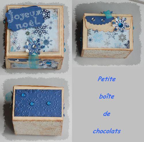 boîte chocolats carrée bleue