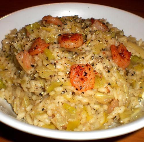 risotto poireaux crevettes 2