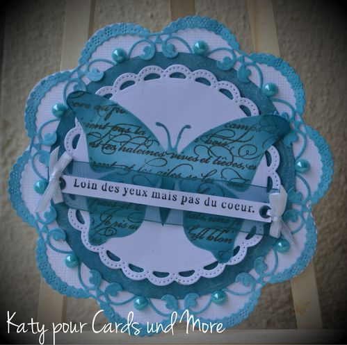 carte turquoise , blanche , noeud