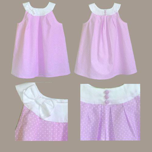robe Caroline à noeud coton rose pois blanc 1