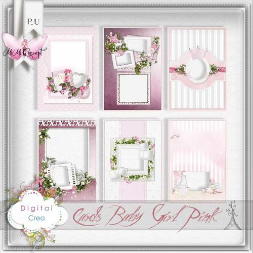 MiMiConcept- Cards Baby Girl Pink -pv