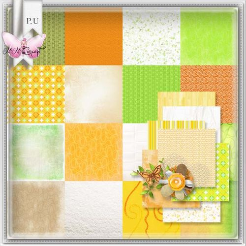 MiMiConcept- Scrapbook Paper Orange -papers