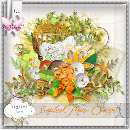 MiMiConcept- Scrapbook Paper Orange -pv