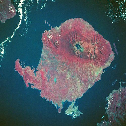 Rinjani volcano satellite Rotated - Nasa
