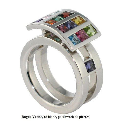 Bague Venise, or blanc, patchwork de pierres