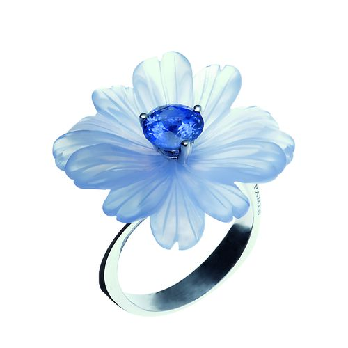 140106 Bague MARGUERITE calcedoine saphir Or blanc