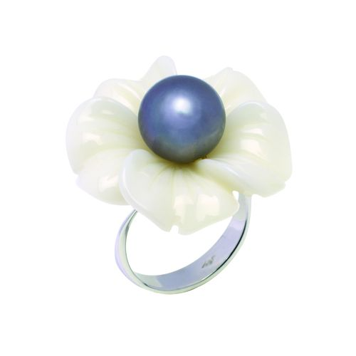 1402 Bague ANEMONE cacholong perle or Blanc