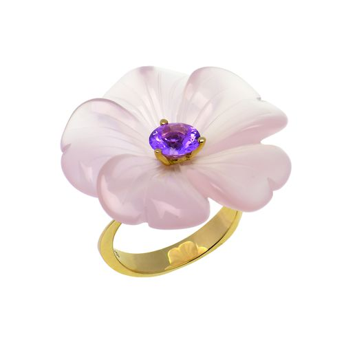 1402 Bague ANEMONE quartz rose saphir Or rose