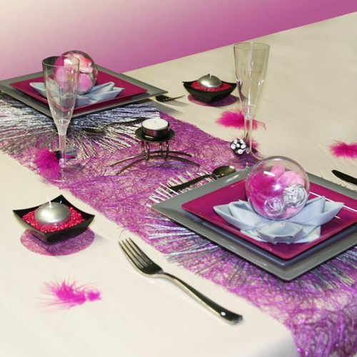 D coration de table prune ivoire et gris d corations f tes - Idee de decoration de table ...