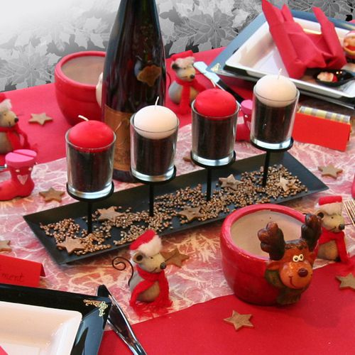 D coration de table no l rouge noir blanc le blog d - Decoration table anniversaire rouge et noir ...