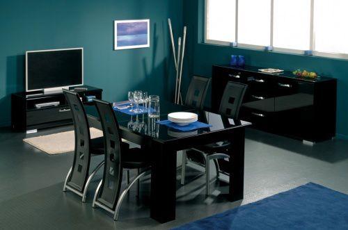 Salle à manger laqué noir Scorpio - docteurdiscount
