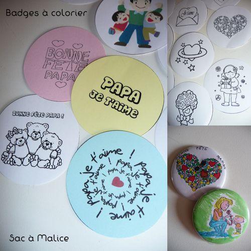 Badges à colorier fête des pères