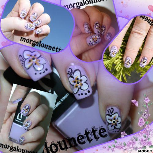 nail art morgalounette one stroke fleur