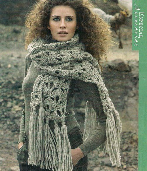 crochet scarf with long fringes