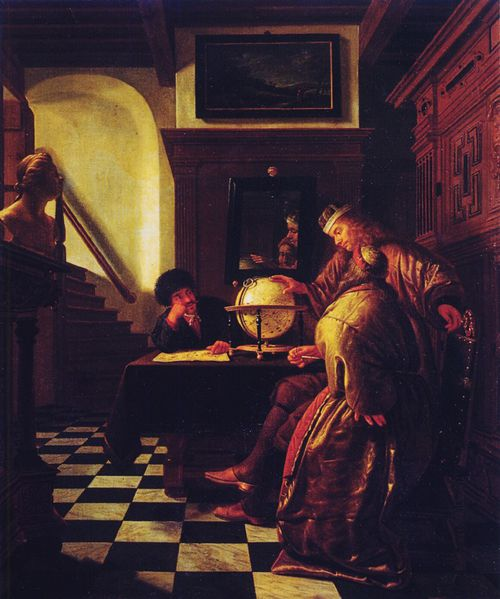 Cornelis de man trois eleves au globe