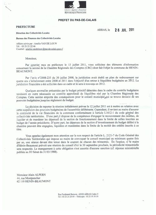 Courrier Prefet page 1