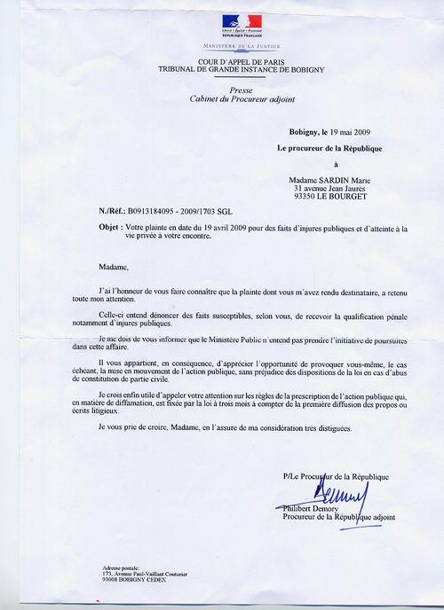 Lettre au procureur pour plainte maison design - Lettre de plainte pour nuisances sonores ...