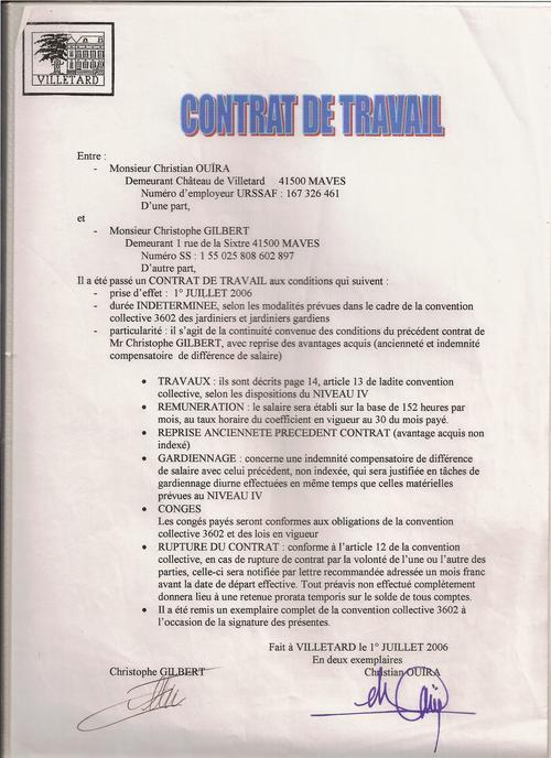 contrat travail 1er juillet 2006
