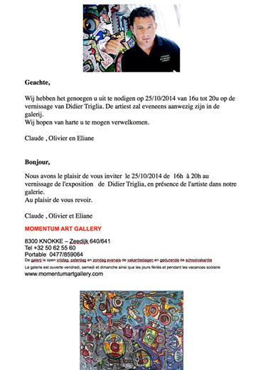 INVITATION VERNISSAGE TRIGLIA A KNOKKE LE ZOUTE
