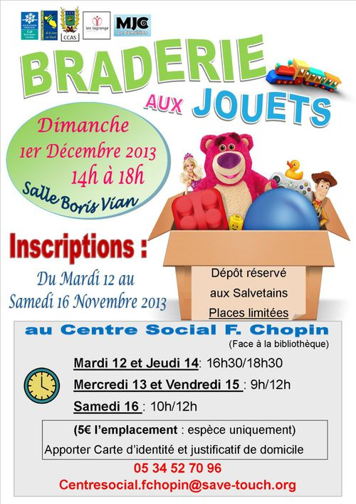 Braderie aux jouets tract inscriptions