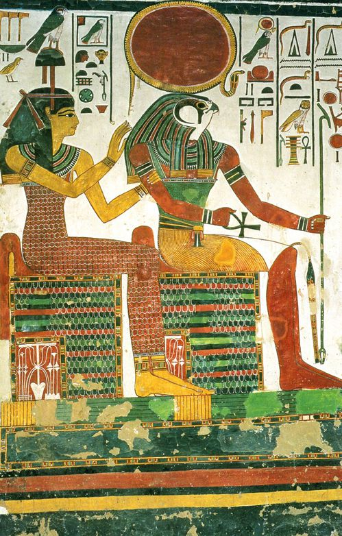 Re Harachte in a scene of the tomb of Nefertari