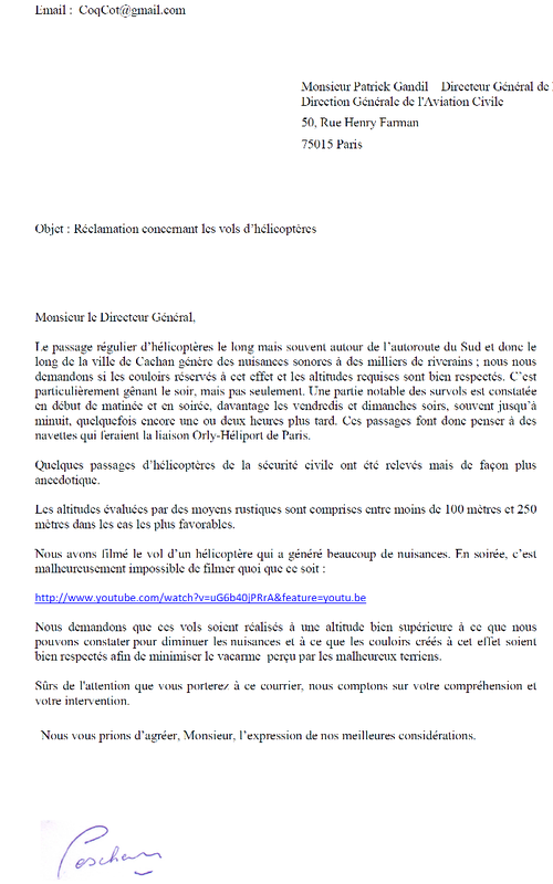 Lettre à l'aviation civile