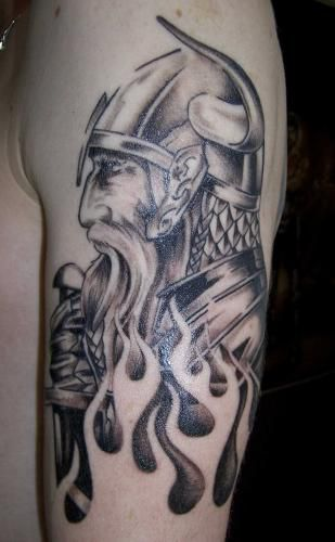 Celtic dogs back piece Tattoo (Viking origin) Viking Tattoo Thors Hammer
