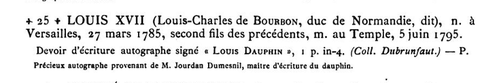 écriture Louis premier Dauphin collection Bovet-A