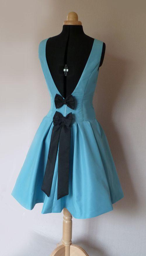 robe Cécile taffetas bleu glacier noeuds noirs 2