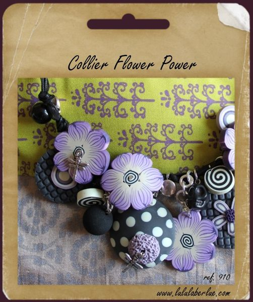 910 - Collier fimo Flower Power Mauve