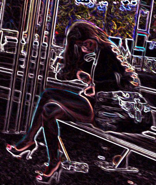 femme en terrase