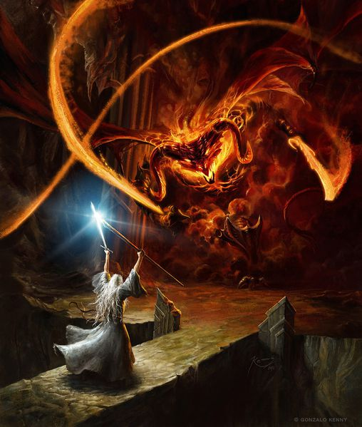 gandalf and the balrog by gonzalokenny-d5g5kw1