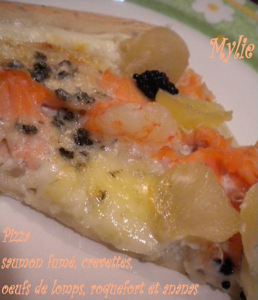 pizza crevettes, saumon fumé, roquefort, ananas, -copie-2