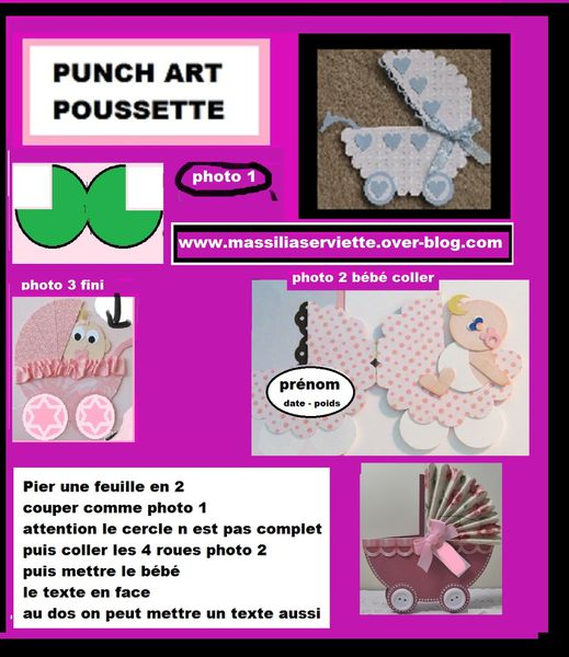 poussette /carriage/ours/chien/dog message/babies/baby/naissance/punch art