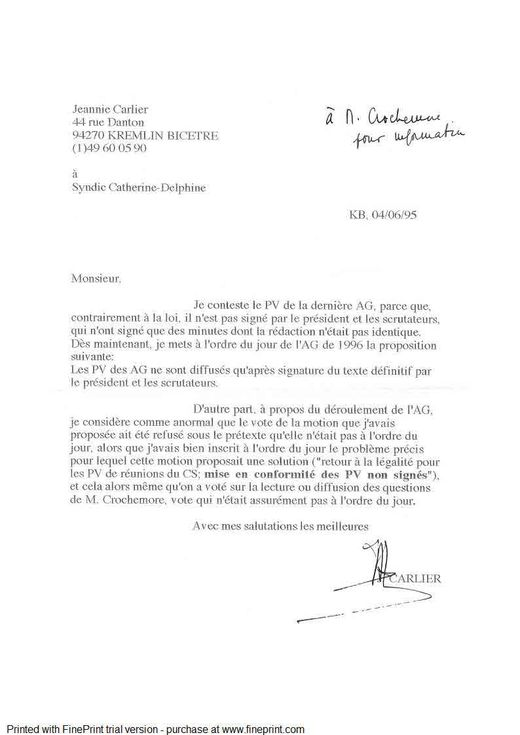 Contestation PV AG 1995 Mme Carlier